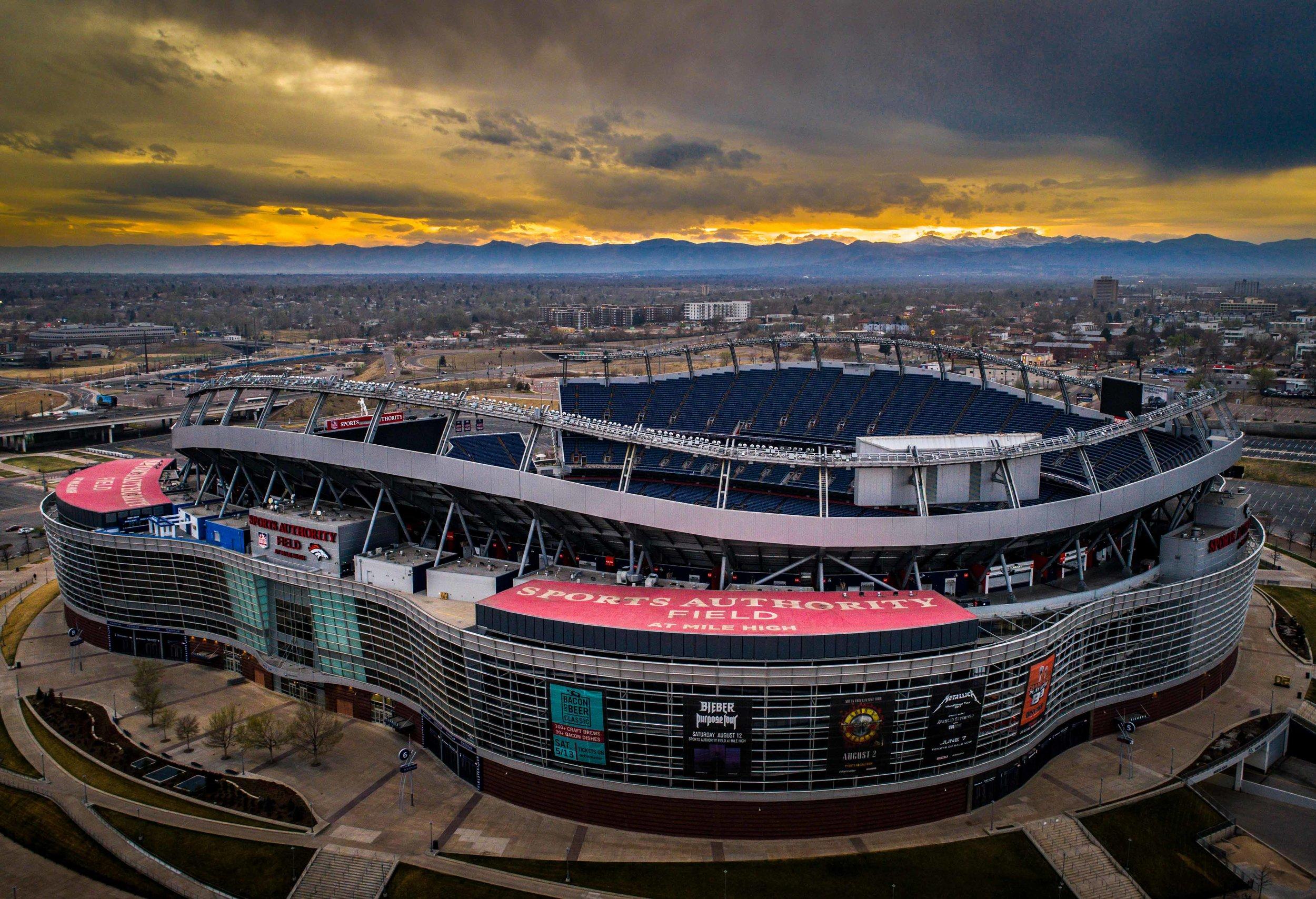 Drone shot of Mile High Stadium