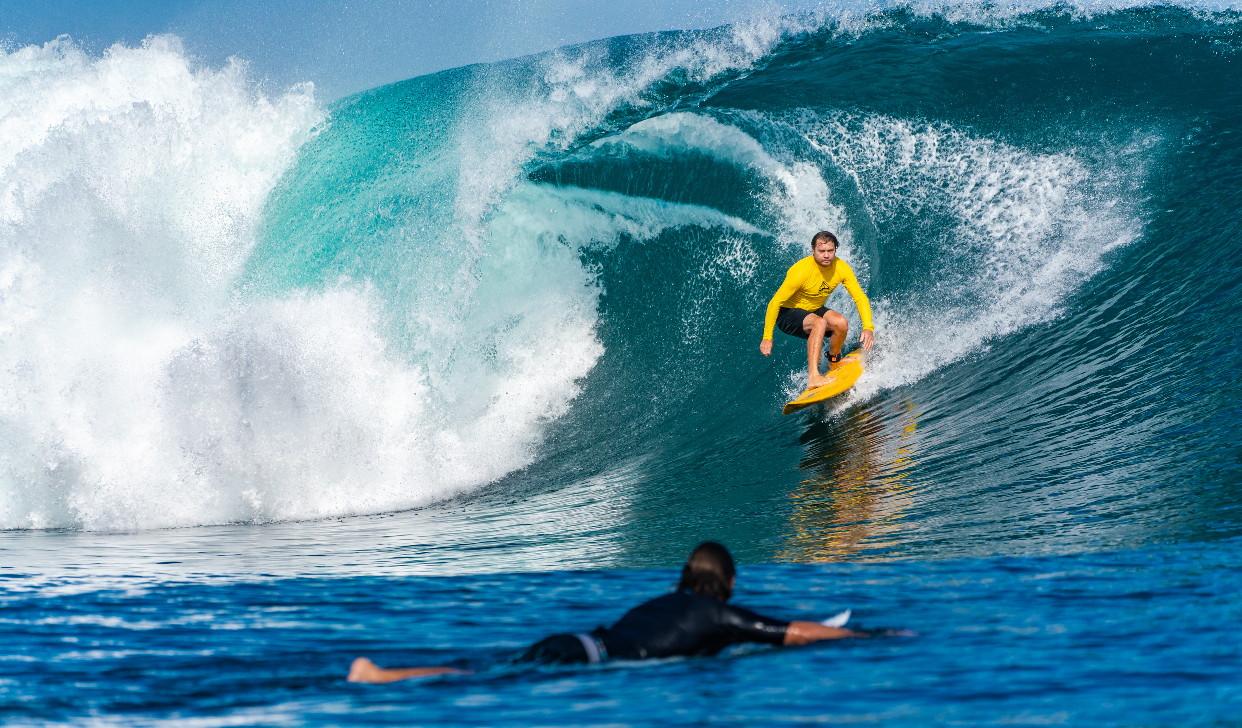 From the boat at launching pads,  a rare opportunity to shoot down the guts of a wave