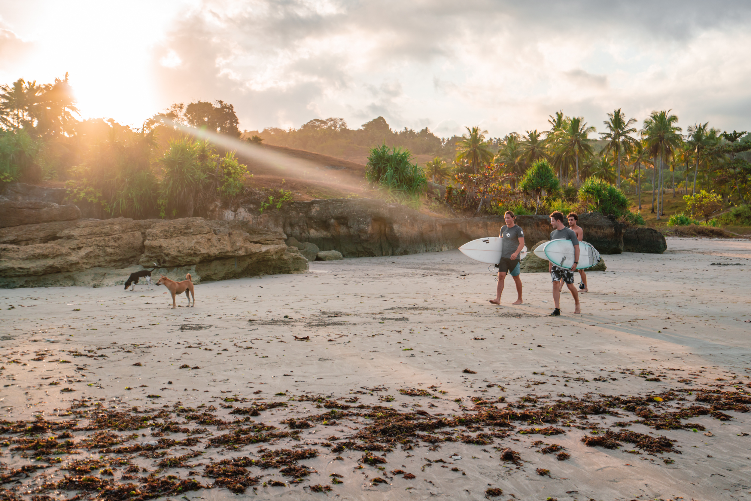 First surf after arriving at Sumba Surf Camp