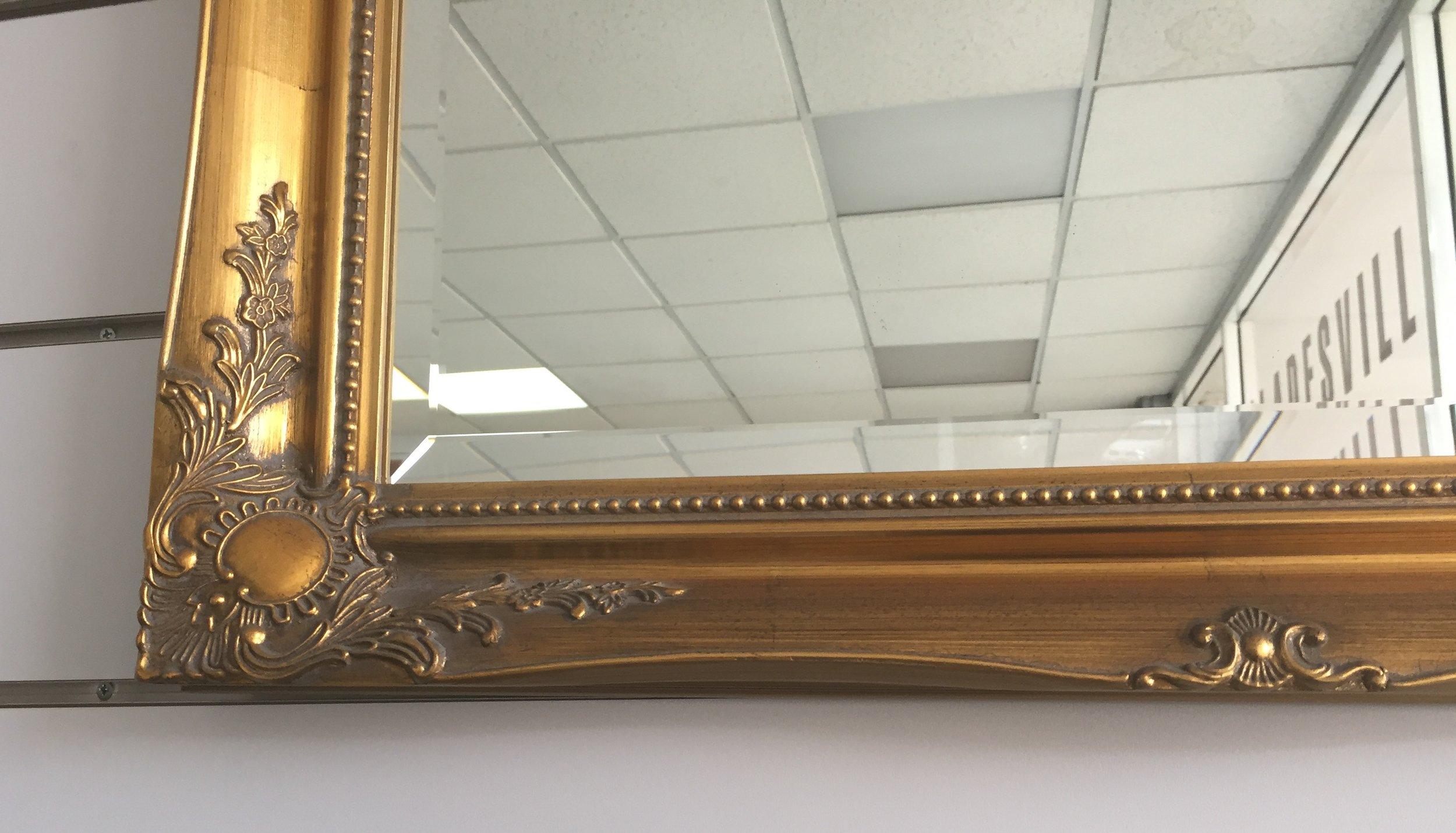 Gold Ornate framed bevelled mirror Close Up.jpg