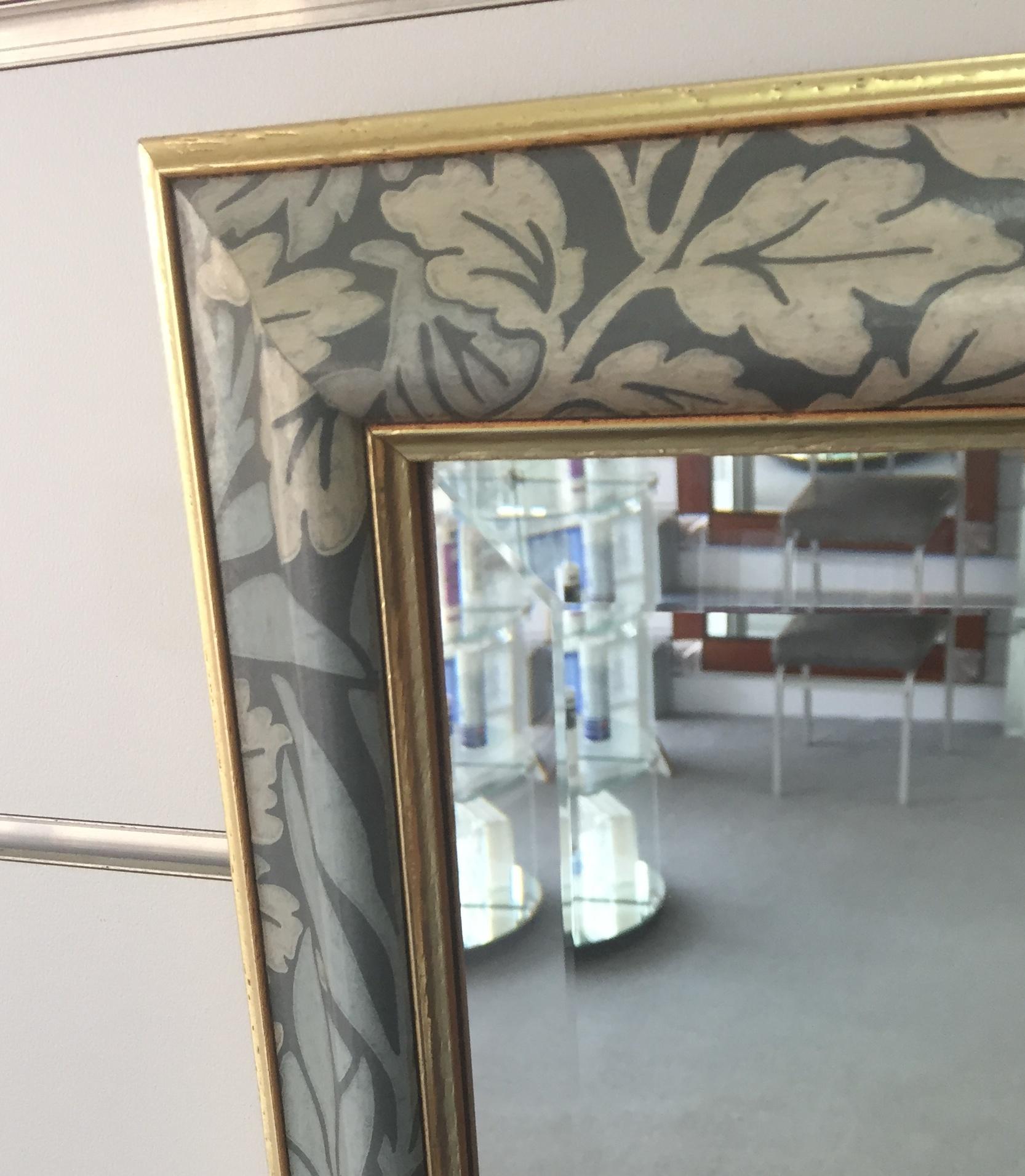 'Green Floral' framed bevelled mirror close up.jpg
