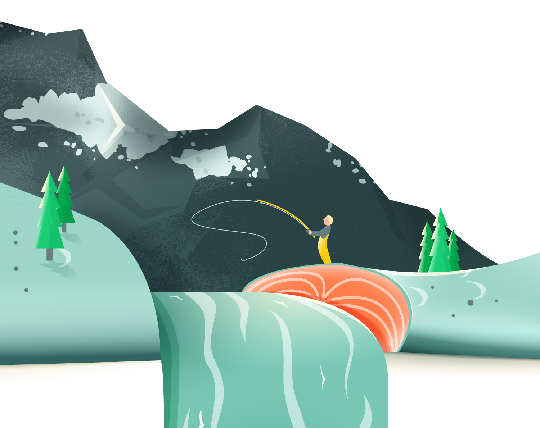 Detail zur Food Illustration eines Lachs von Elisabeth Deim