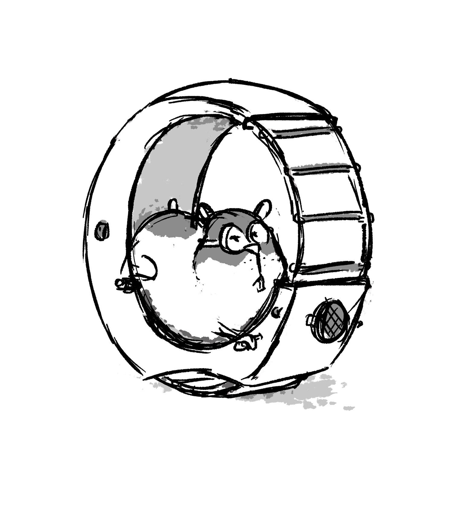 Skizze Maskottchen Hamster im Hamsterrad - Elisabeth Deim