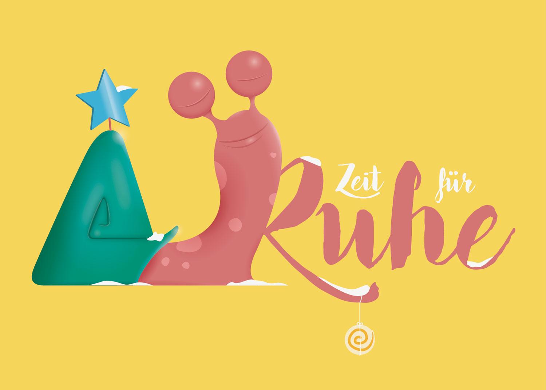 Illustration für Weihnachtskarte mit rosa Schnecke / Elisabeth Deim