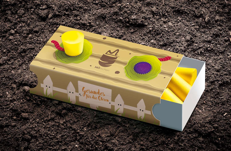 Gehörschutzstöpsel Verpackung mit Gartenbeet als Illustration / Elisabeth Deim