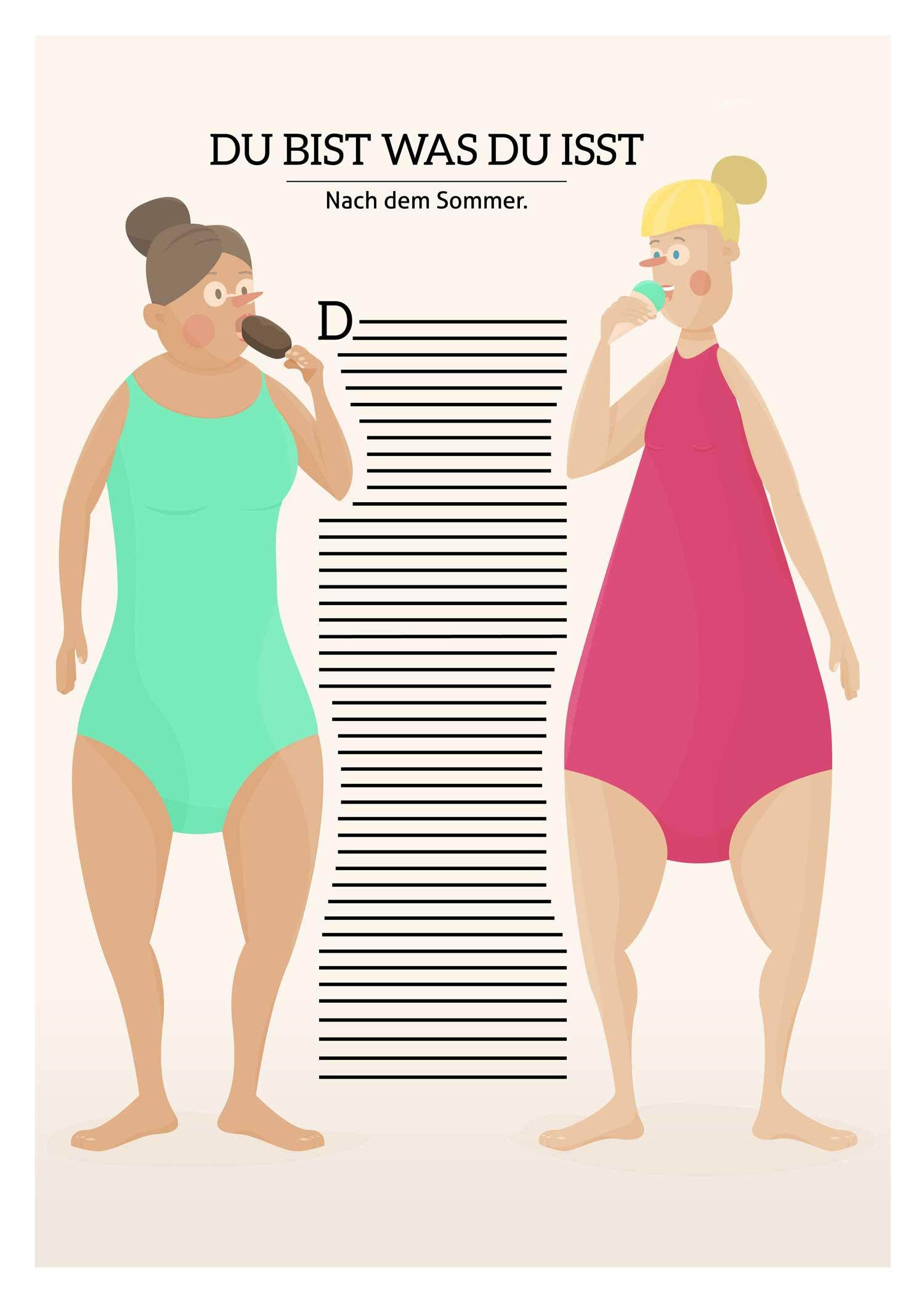 Illustration von Elisabeth Deim - Frauen im Badeanzug essen Eis