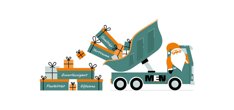 Illustration - Weihnachtsmann im Truck - Elisabeth Deim
