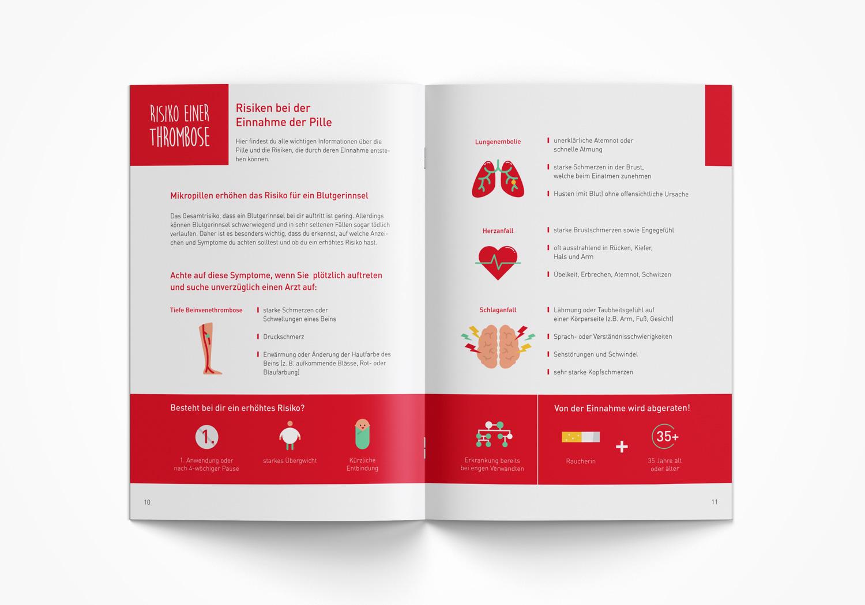 Infobroschüre über die Pille mit Infografiken und Illustrationen von Elisabeth Deim