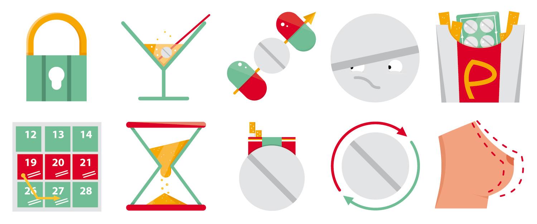 """Icon Set """"Pille - Mythos oder Fakt"""" von Elisabeth Deim"""