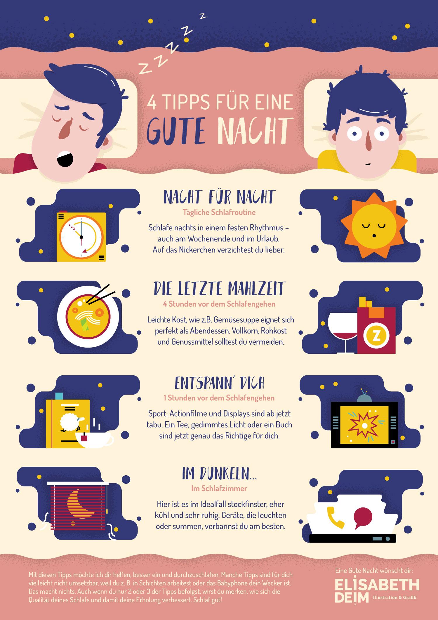 """Infografik """"Der gute Schlaf"""" über Schlafregeln von Elisabeth Deim"""