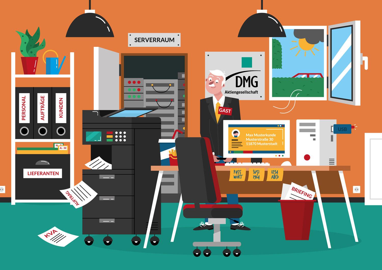 """Illustration Erklärbild """"Datenschutz im Büro"""" - Elisabeth Deim"""