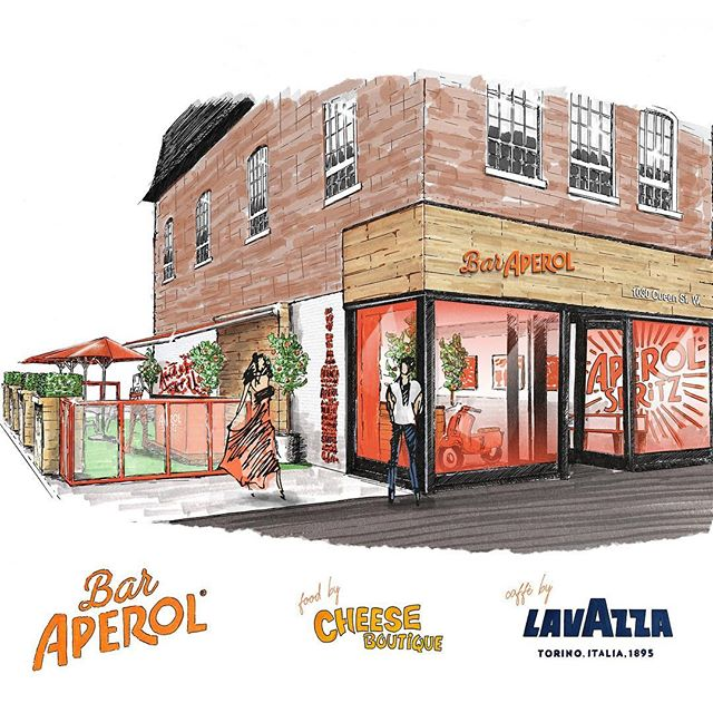 We'd like to happily welcome @baraperol.to to the Queen & Ossington neighbourhood. You'll catch us there July 4th to 28th sippin' on a #Spritz or two, as well as enjoying some amazing snacks provided by @cheese_boutique & @afrimpristine, and coffee by @lavazzaofficial. Show them some love with a follow. Cin Cin! Artwork by @warrenkeefe.