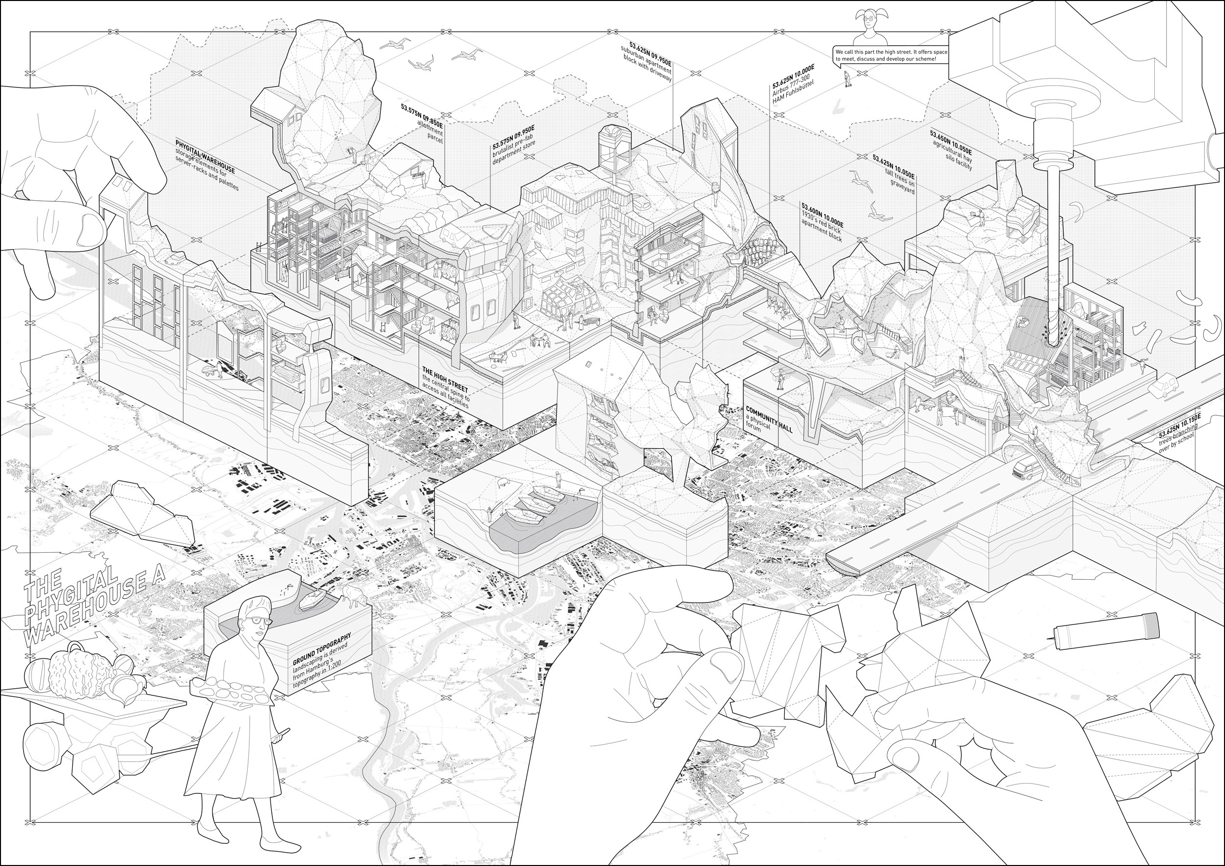 Low Res City – The Phygital Warehouse, Y5. Tutors: Prof.Laura Allen and Prof. Mark Smout .In my design proposal I focus on the 'Phygital Warehouse'. Its program accommodates physical and virtual storage for the 'game' resources, as well as providing spaces for the community in which meta-decisions about the game and its mechanics can be discussed and made. The design language is informed by 80 samples of Hamburg that are mined from Apple Maps. Using photogrammetry on screenshots allows me to obtain low-resolution pointclouds of the whole city. Pinpointing where to 'grab' data, the intersections of a coordinate grid overlaying the city perimeter limits my agency as curator. The 15 x 15 meter sized 'specimens' become true representatives of the city fabric – amongst others containing bits of crop elds, of the Autobahn, of a brutalist warehouse (48). These samples are used as enclosure of the required spaces as well as 1:1 testbeds for the laypersons to test Realized Augmentity as delivery method. Once the building is completed, the islanders are prepared to take over their island – having actually built every bit of a city by themselves.
