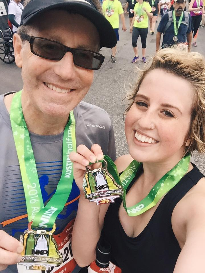 My dad and me after my first half marathon in February 2016