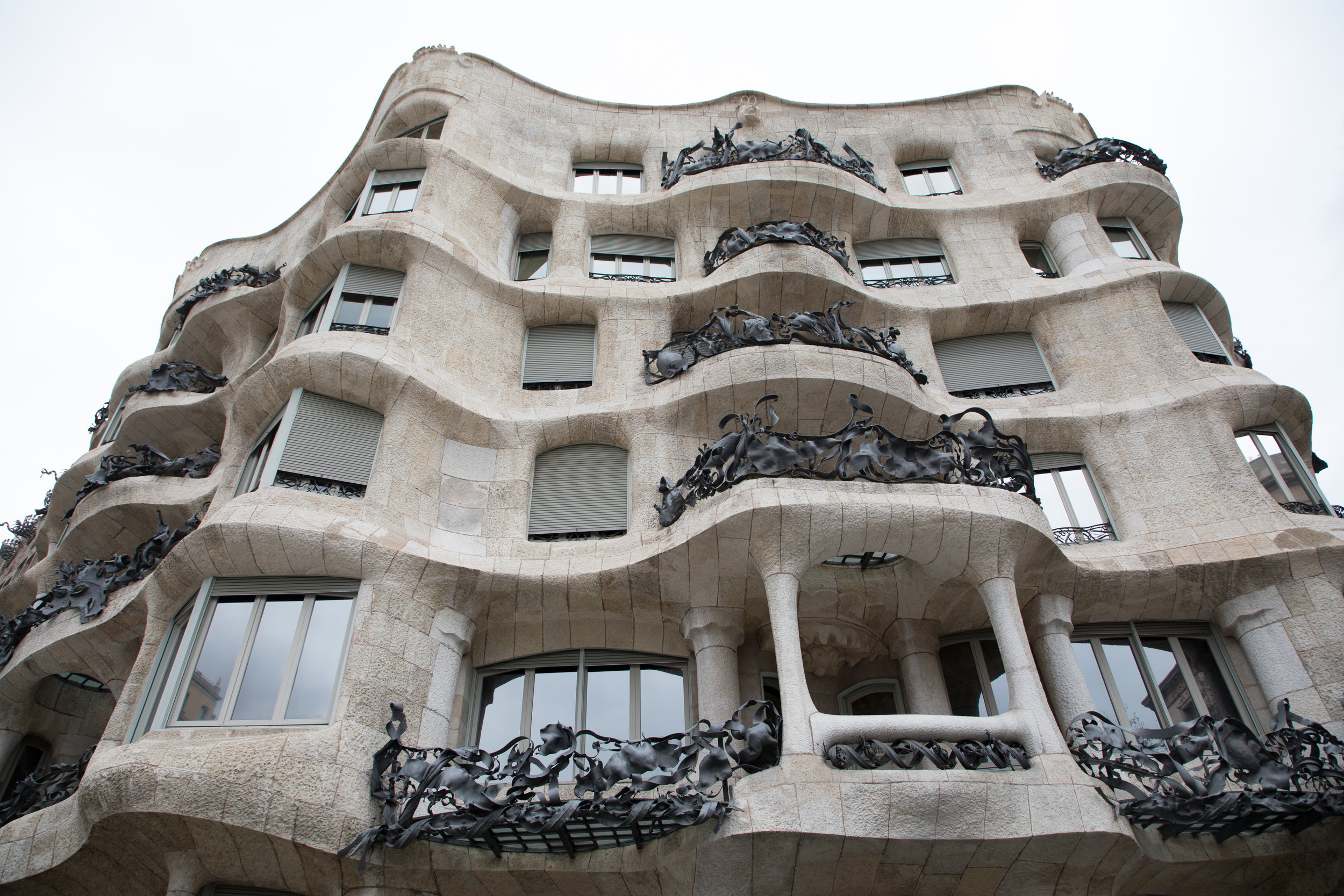 The famous Gaudí houses were right in between the rest of the buildings on one of the main streets. Here is La Pedrera.