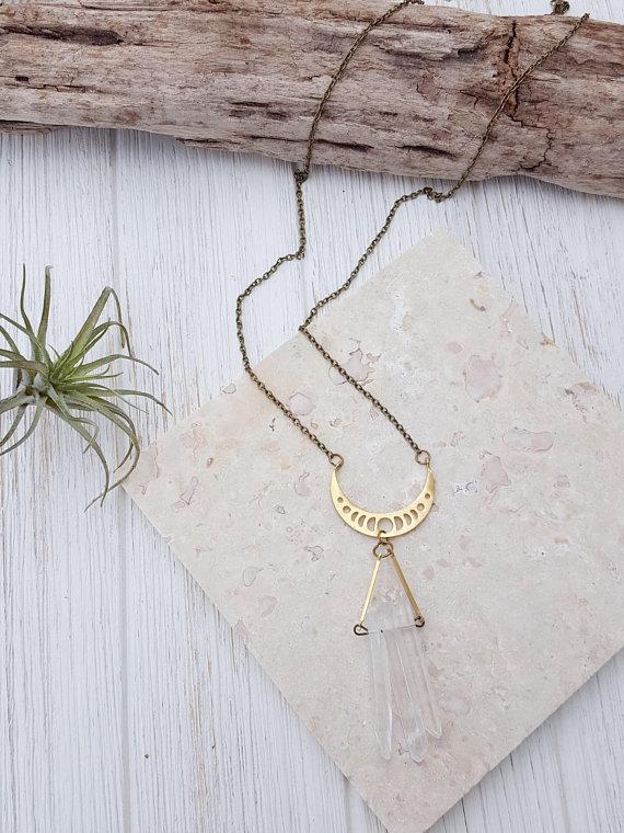 Long Boho Necklace Modern Crystal Necklace Raw Crystal Jewelry