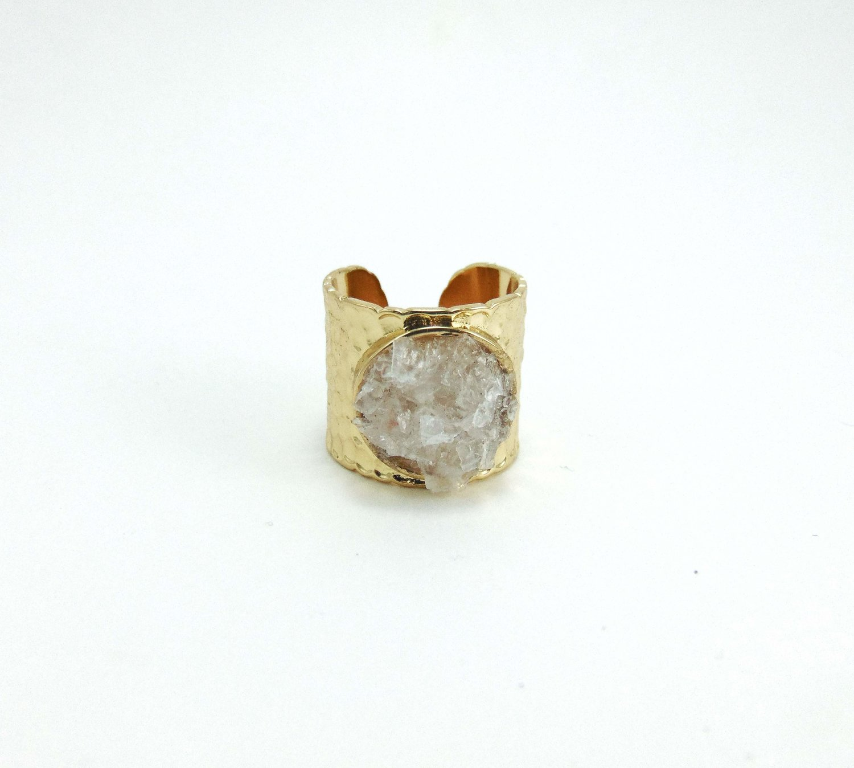 Rough Citrine Ring Raw Tourmaline Ring Rose Quartz Ring Adjustable Ring Gold Plated Ring Three Stone Ring Brass Stacking Ring