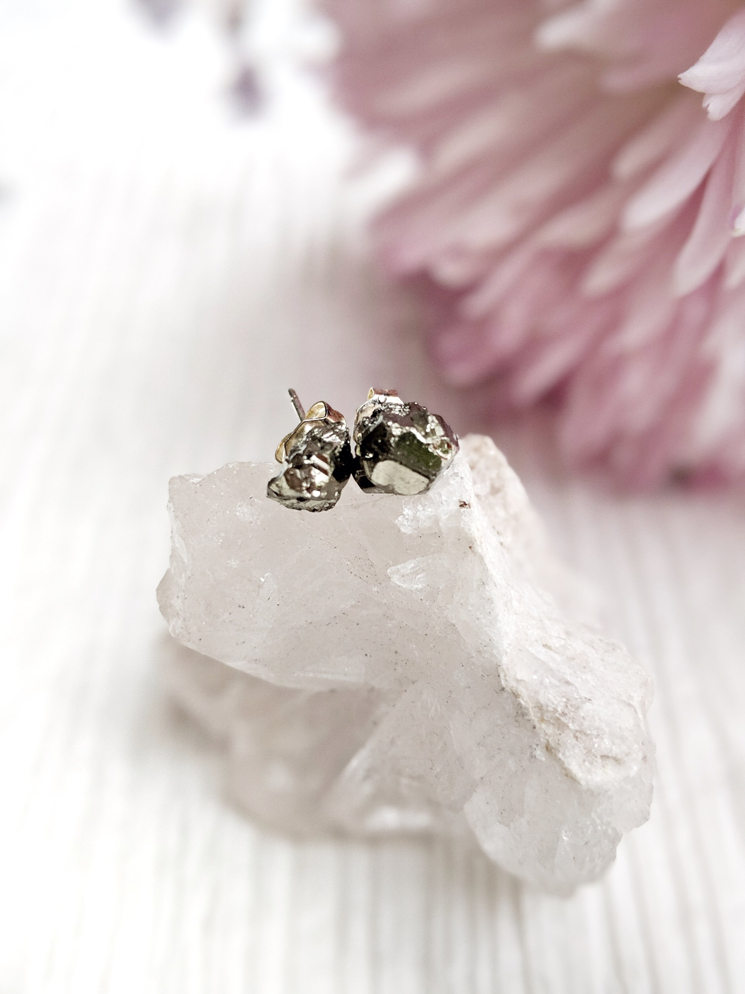 Pyrite stud earrings raw pyrite earrings