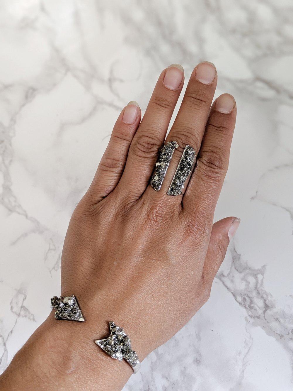 Rustic Grey Raw Gemstone Ring Silver Gemstone Ring US size 7.5 Raw Pyrite Ring Retro Pyrite Ring