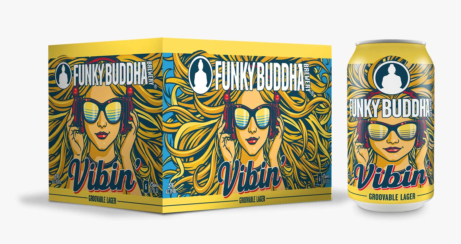 Funky Buddha Brewery Vinbin' Groovable Lager can and can carrier box design and artwork.