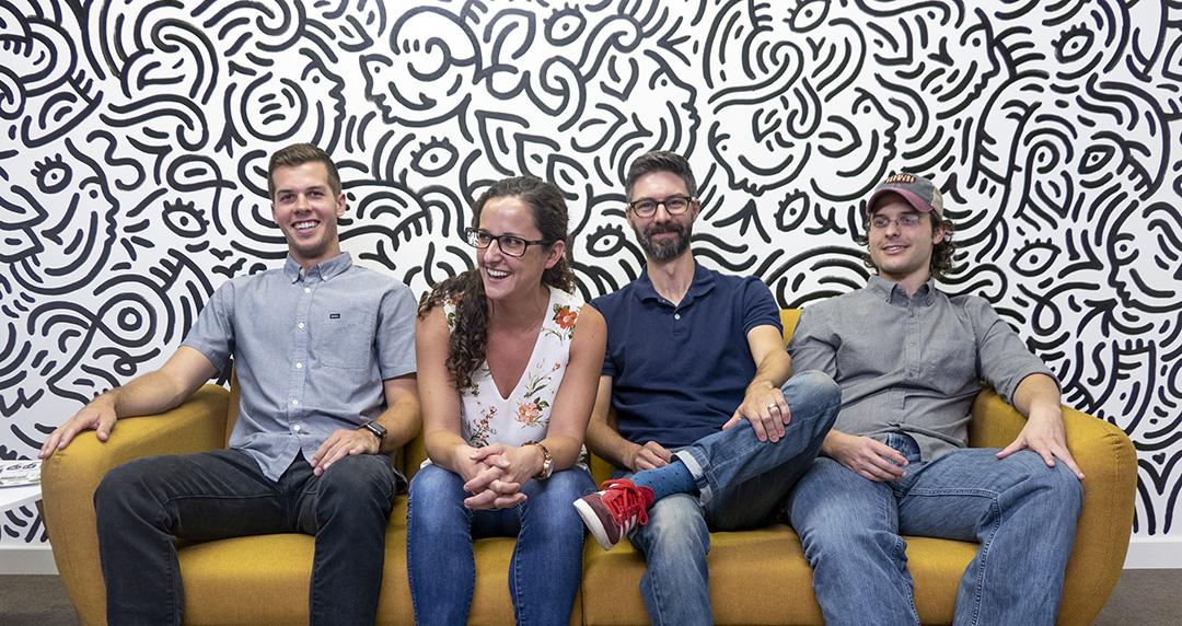 EBBING Branding + Design. Left to Right: James Laycock, Melissa Gagliardi, Matt Ebbing, Jud Lively.