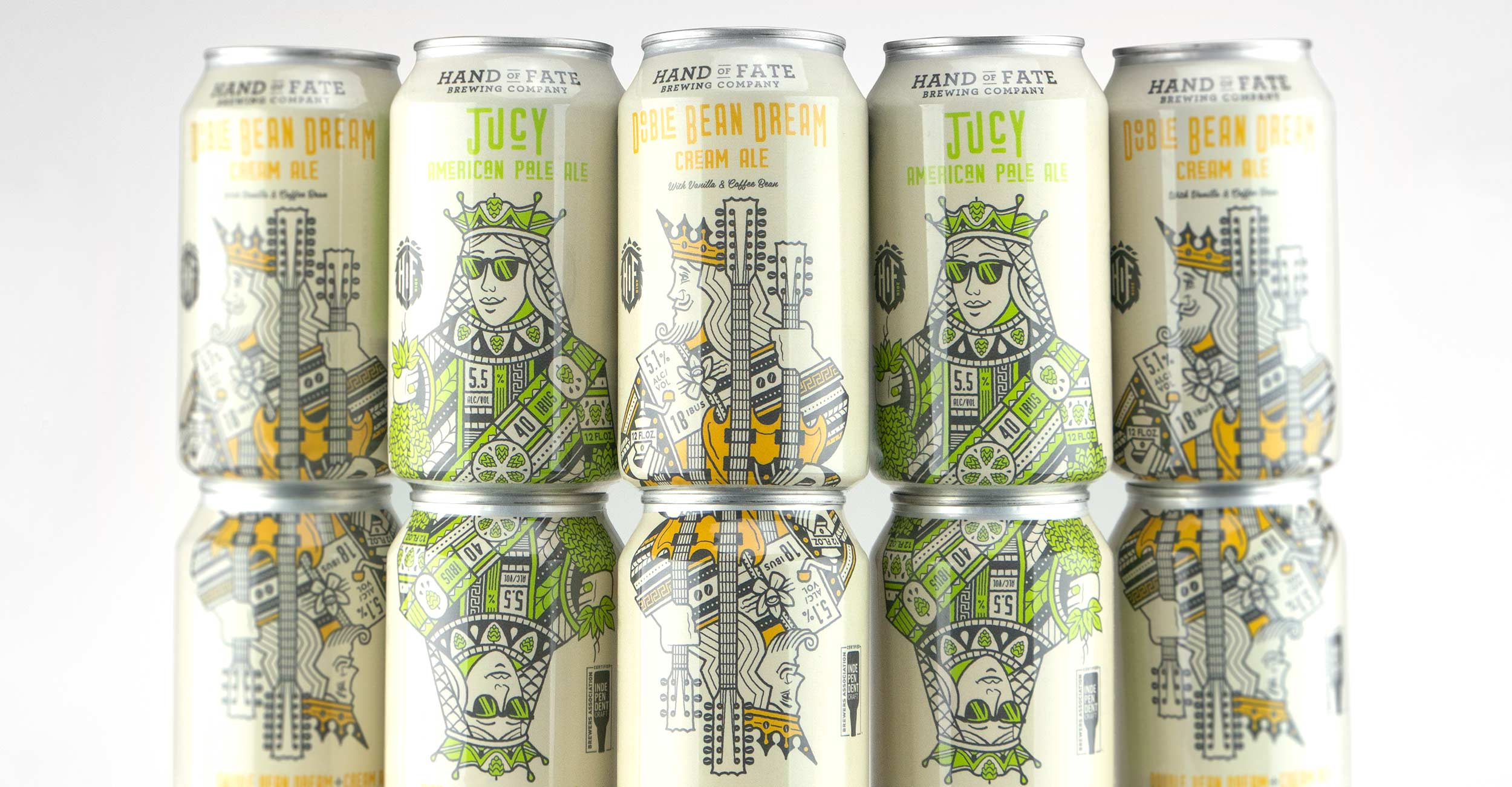 Stacking cans design for Hand of Fate Brewing Co. craft brewery.