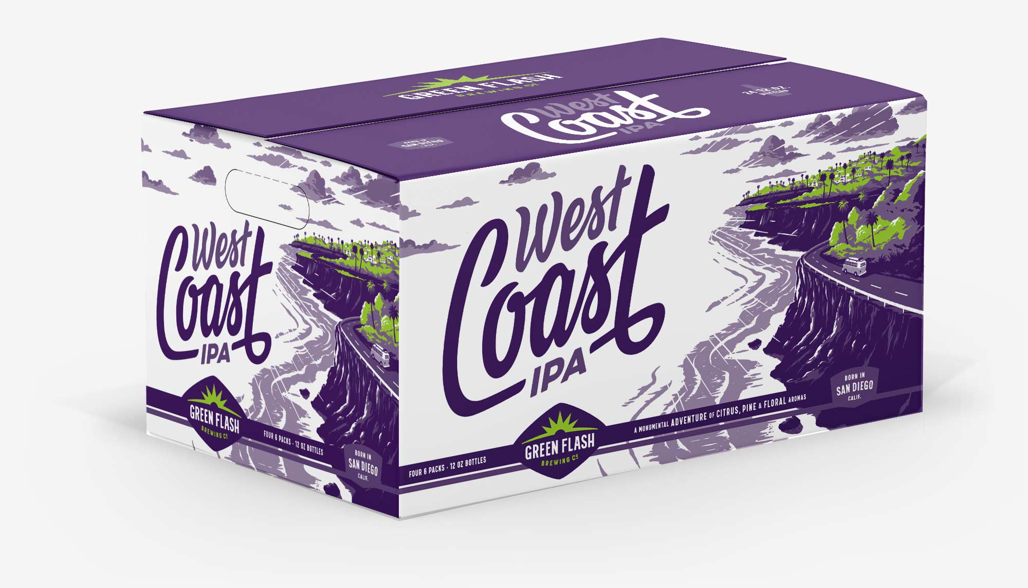 Mother carton case box design for Green Flash West Coast IPA