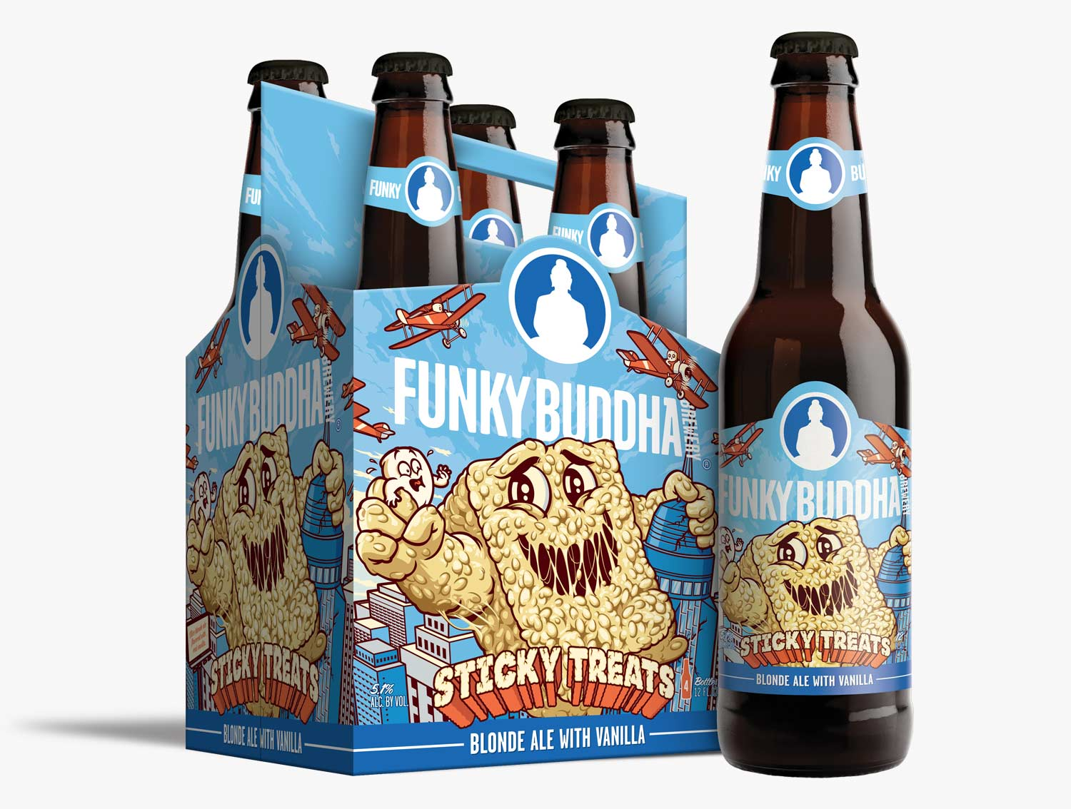 Funky Buddha Brewery Sticky Treats Artwork Illustration and Design