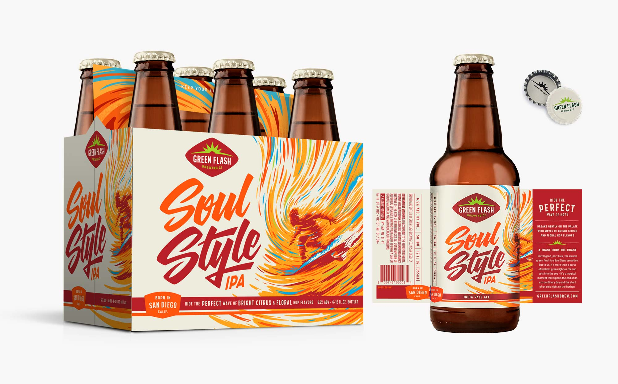 Soul Style IPA 6-pack, bottle label, can design, can box.