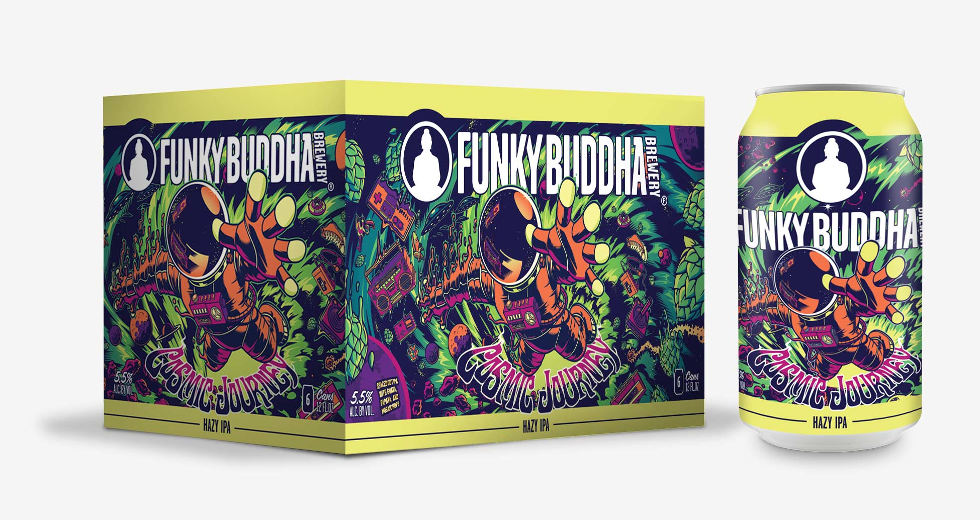 Funky Buddha Brewery Cosmic Journey Hazy IPA Artwork Illustration and Design