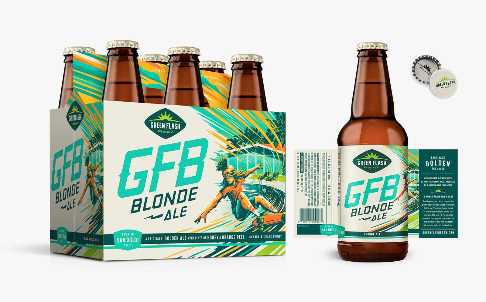 GFB Blonde Ale 6-pack, bottle label, can design, can box.