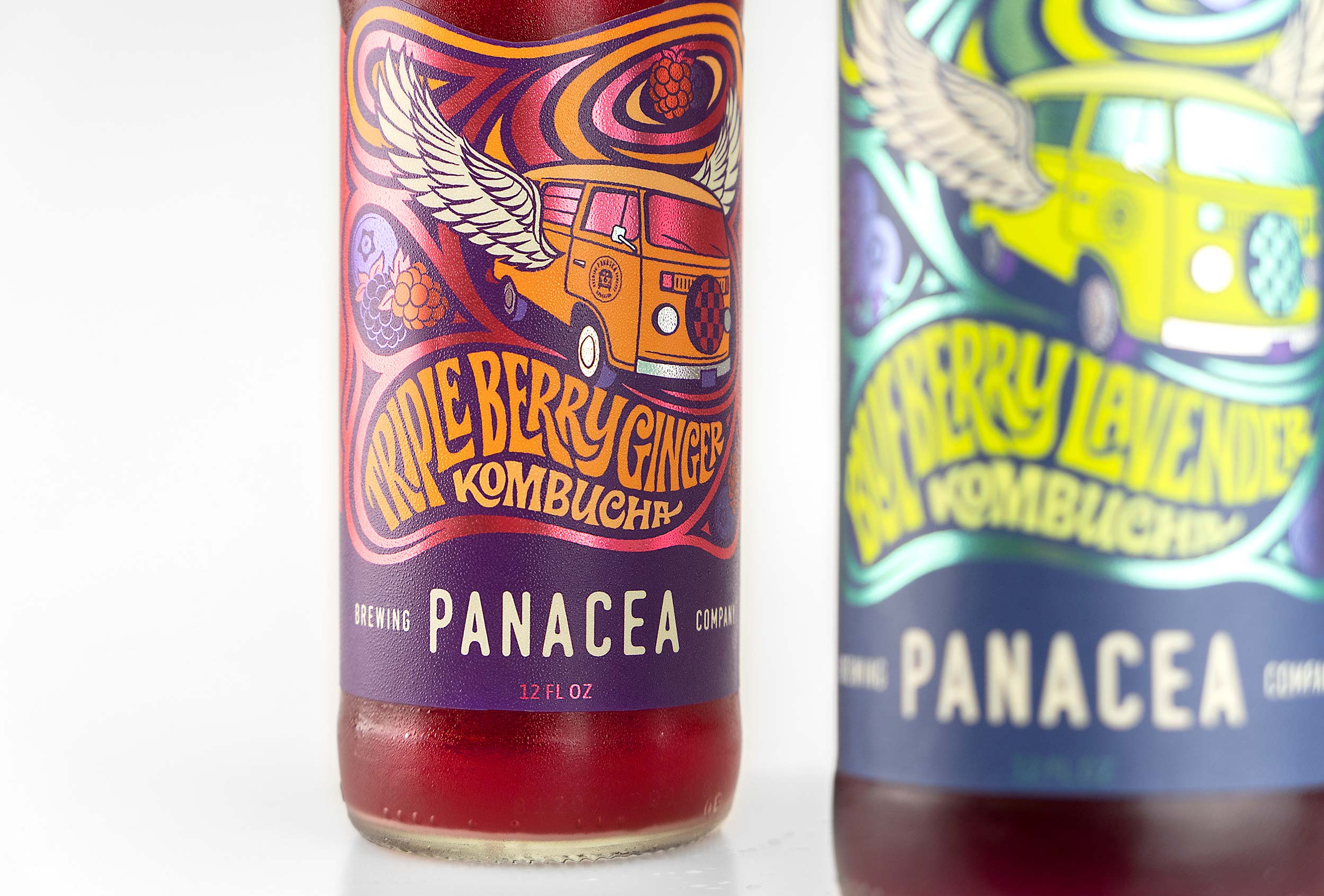 Custom illustration and hand lettering for psychedelic VW bus kombucha label