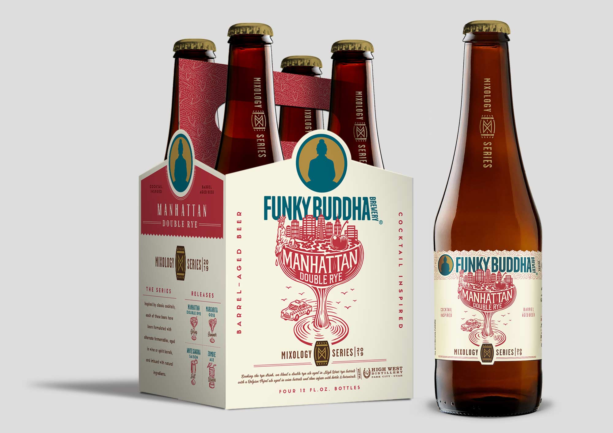Funky Buddha Brewery Mixology Series Manhattan Double Rye Ale label design and illustration.