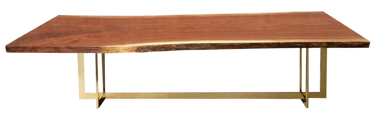American Walnut Single Slab Dining Table Cast Bronze Legs Br Live Edge