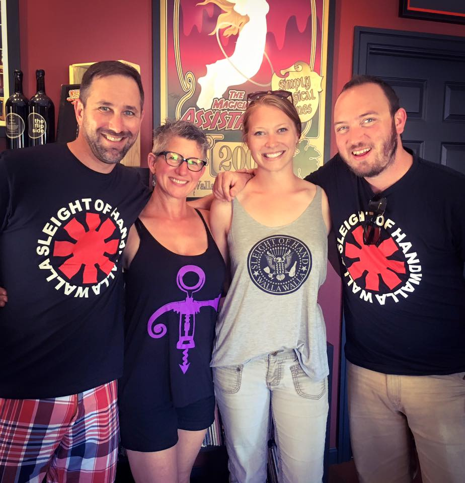 Trey Busch (Co-Owner + Winemaker) | Traci Garrett (Tasting Room Manager) | Erin Proctor (former Cellar Master + Viticulturist) | Keith Johnson (Production Winemaker) wearing awesome band inspired winery shirts... can you name all the references? *answers at bottom of post*