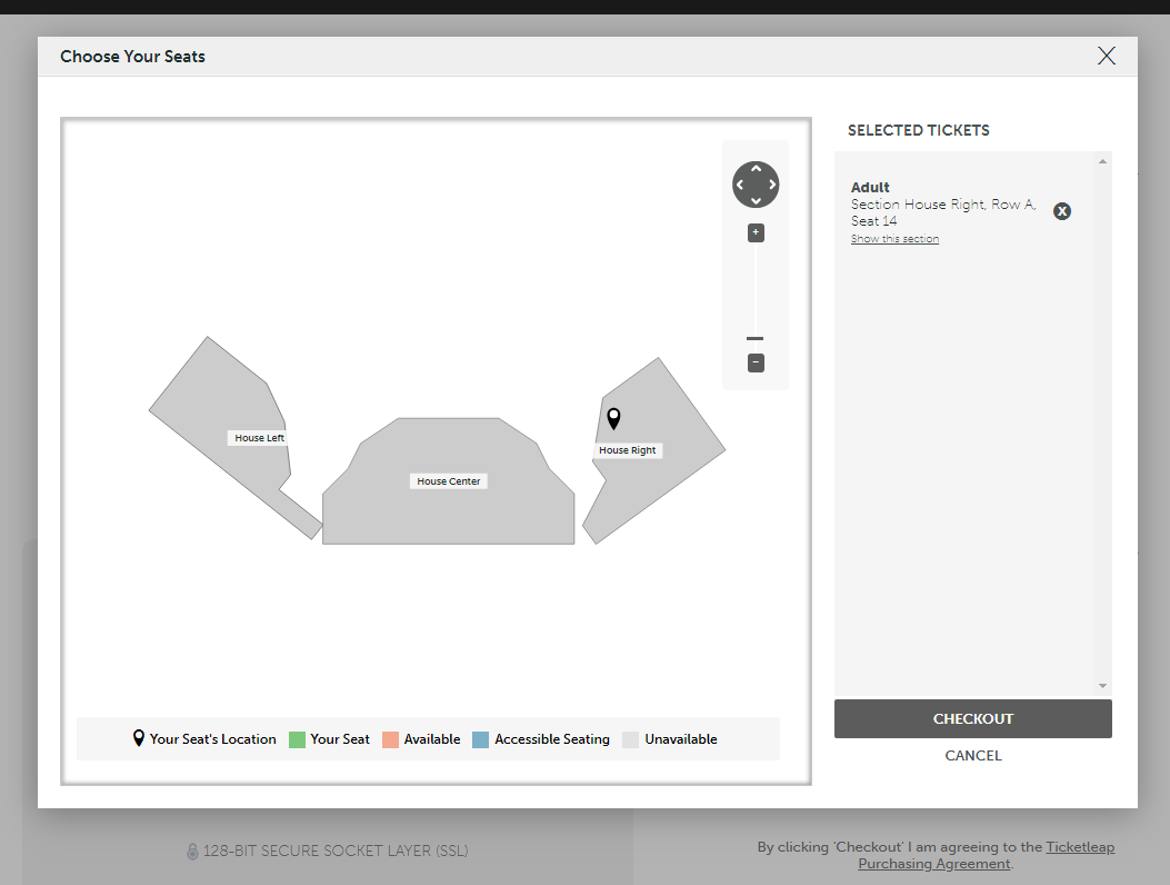 Step Two. - After clicking edit, the screen will show you the seating chart. Click on any section and you will be presented with a more detailed seating chart.