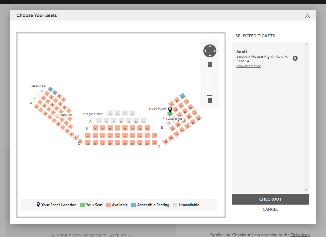 Step Three. - Click on any available seat you would like.