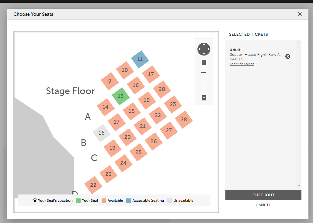 Step Six. - Now that you have removed the ticket for the seat(s) that were automatically generated for you, the screen should reflect you seats you are about to purchase. The green squares are yours! Once you are satisfied with your seating, move forward to the checkout.