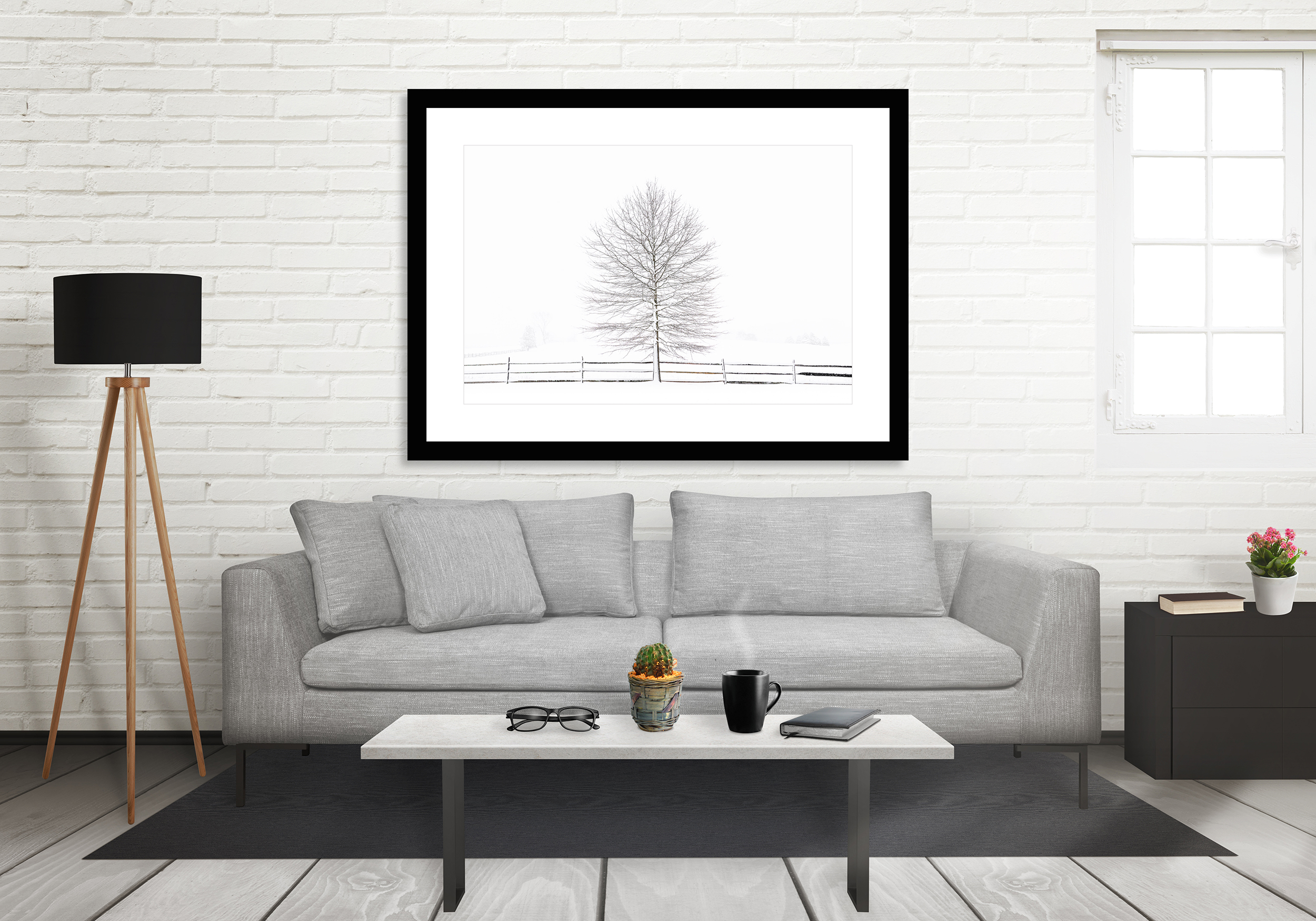 'Tree & Fence' framed and printed on fine art paper. ©johnguillaume