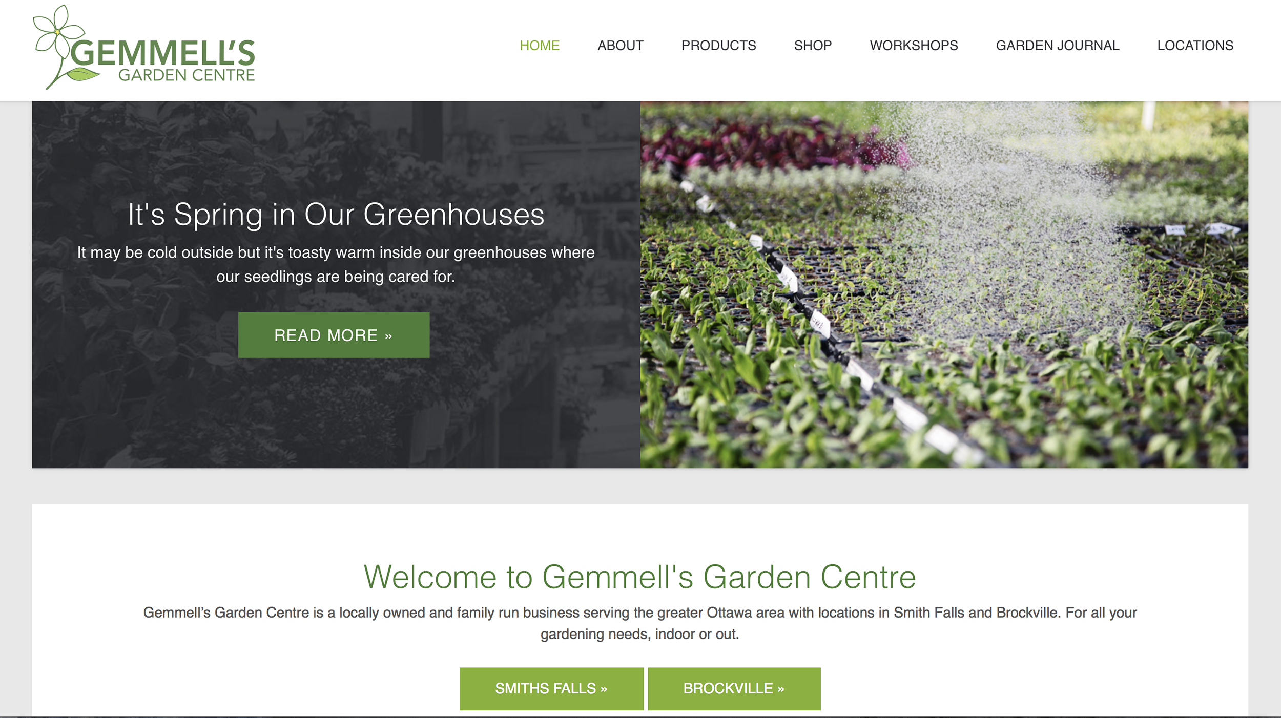 Image Depicts Photography & Content Created for  Gemmell's Garden Centre  Landing Page. Platform: Tymbrel.