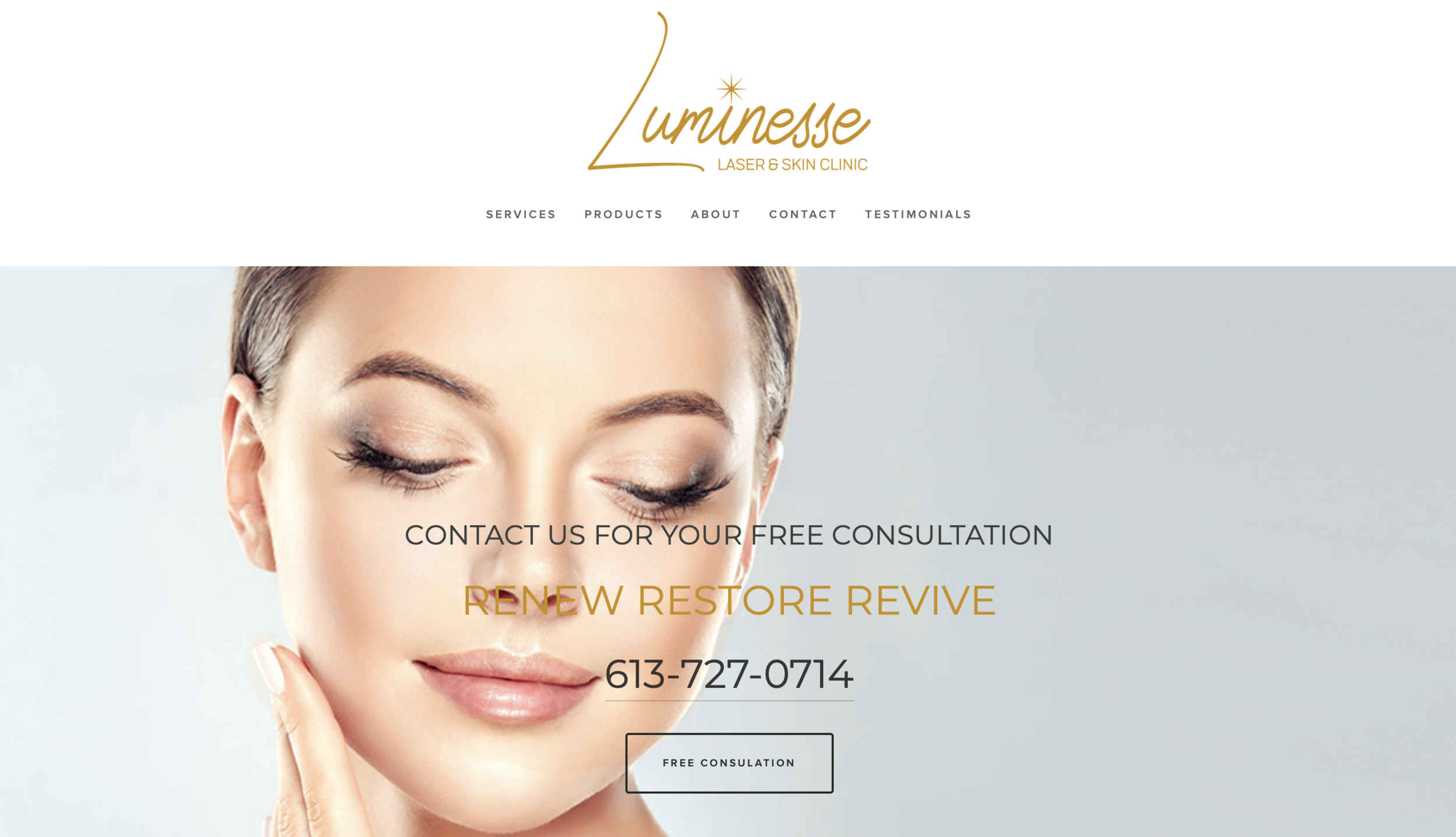 Image Depicts Web Design & Content Created for  Luminesse Laser + Skin Clinic  Landing Page. Platform: Squarespace
