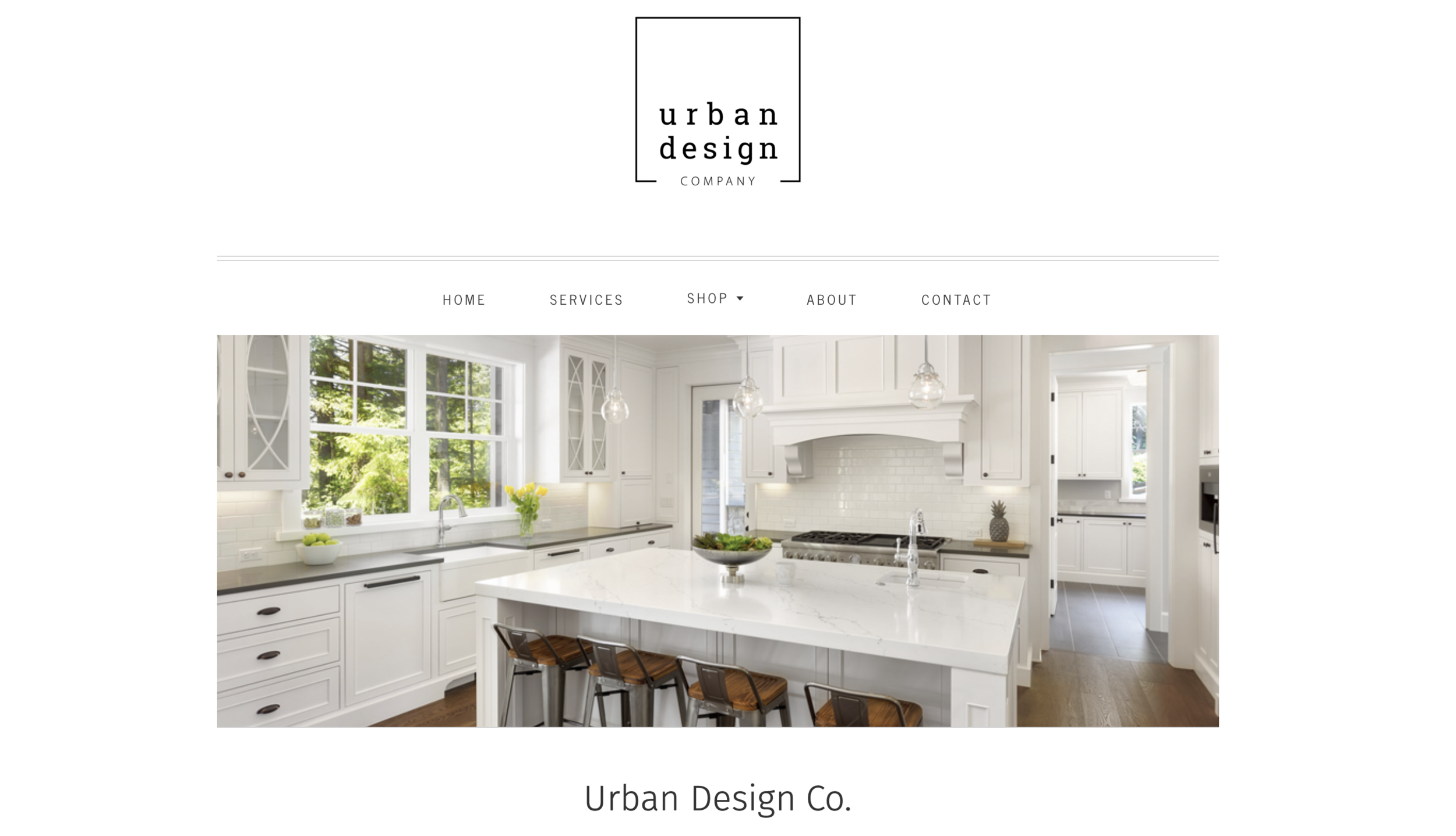 Image Depicts Web Design & Content Created for  Urban Design Co.  Landing Page. Platform: Shopify