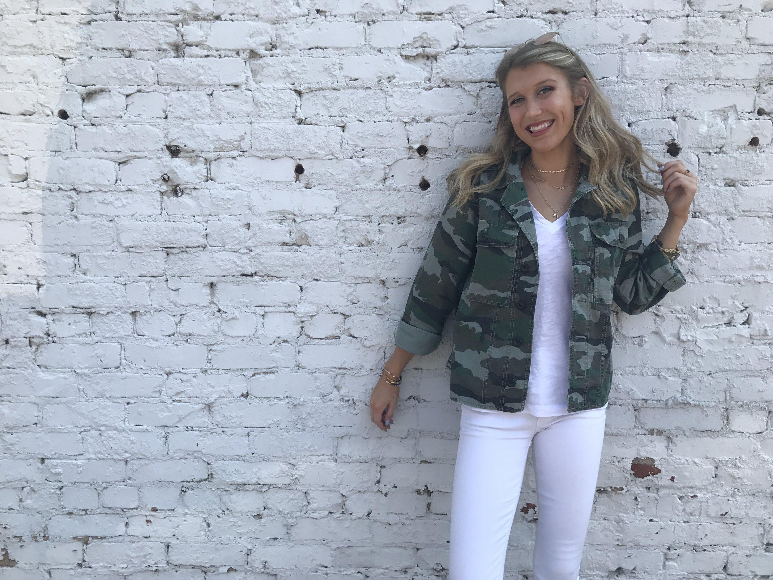 Camo shirt-jacket:  J.crew    t-shirt-   Madewel l   white jeans- GAp (similar )  silver slide loafers- halogen