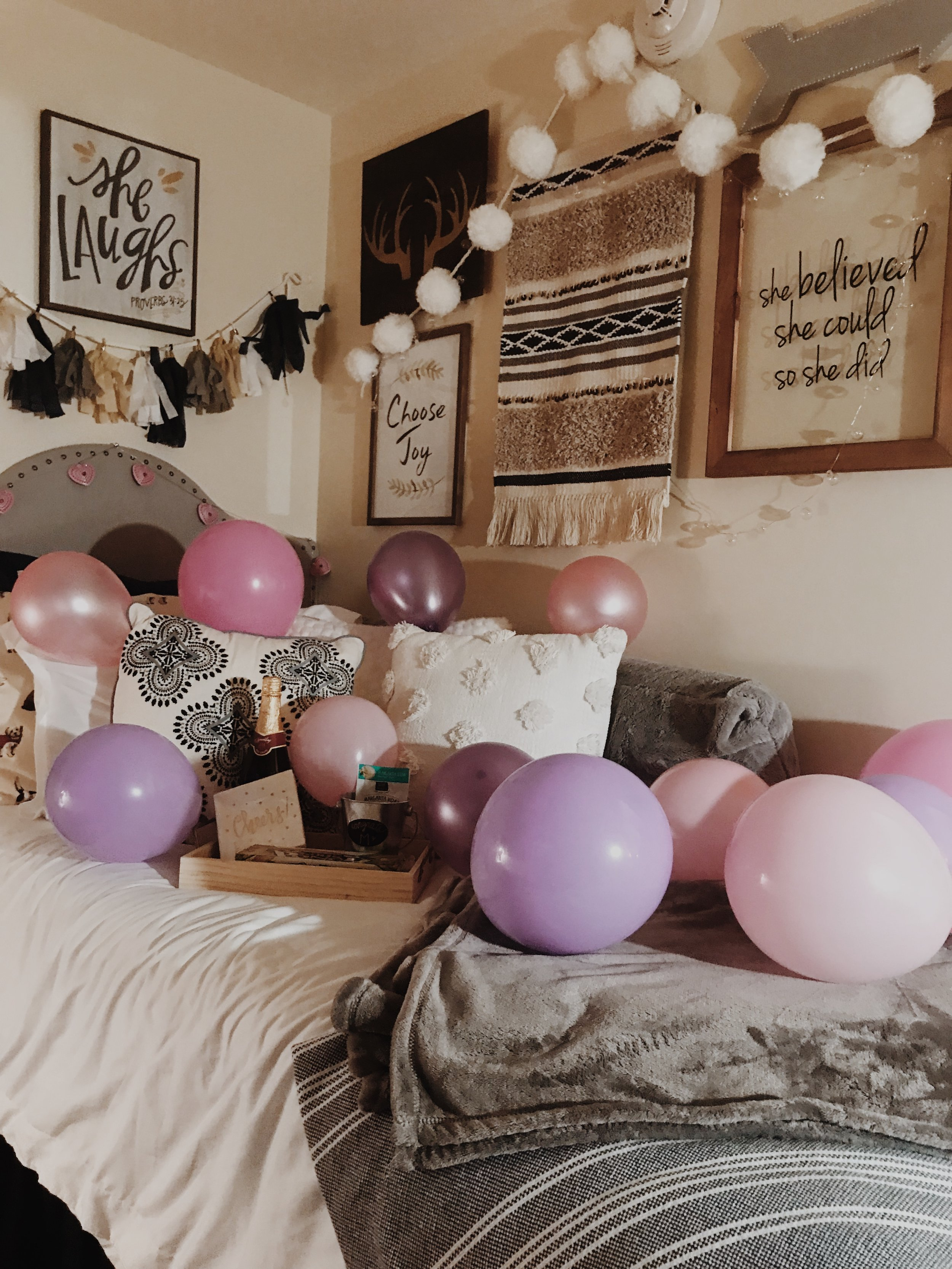 Micah decorated my room while I was gone so we could celebrate. She's the cutest.