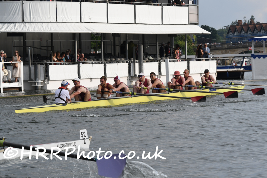Nick Roll '21 (3 seat) and his crewmates from Vesta RC winning their Wednesday heat of the Thames Cup at Henley Royal Regatta. Photo copyright Henley Royal Regatta.