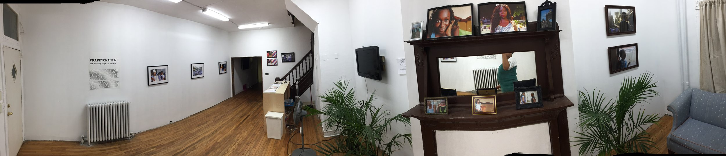 "Panoramic shot of Gallery 1 during our exhibition, ""Drapetomania."""