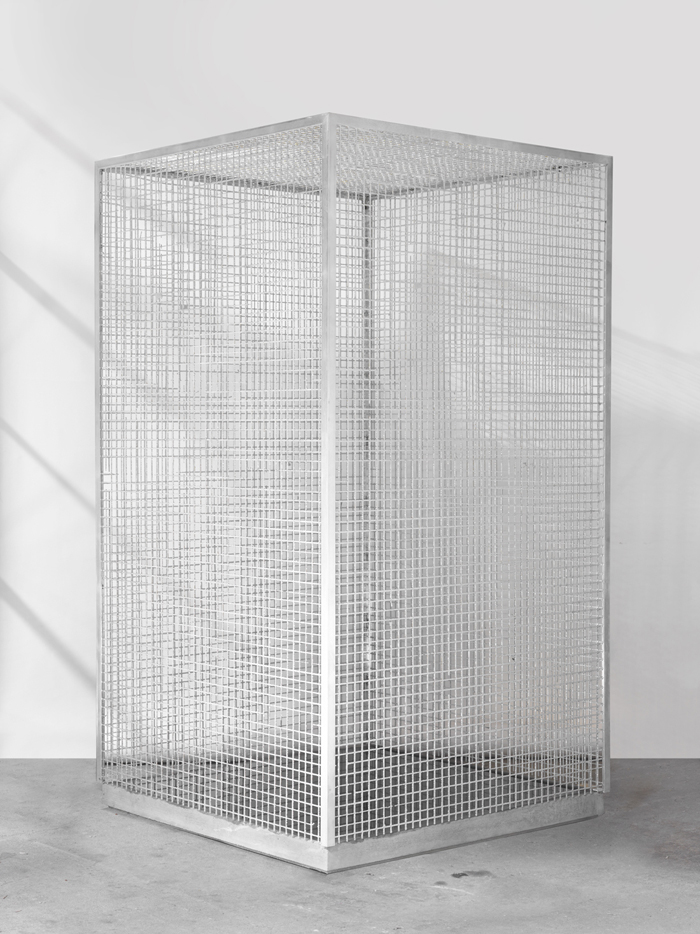 Dean Levin - Carless Insecure, 2015 - Aluminum, concrete, pigment, and water - 40 x 40 x 73 IN