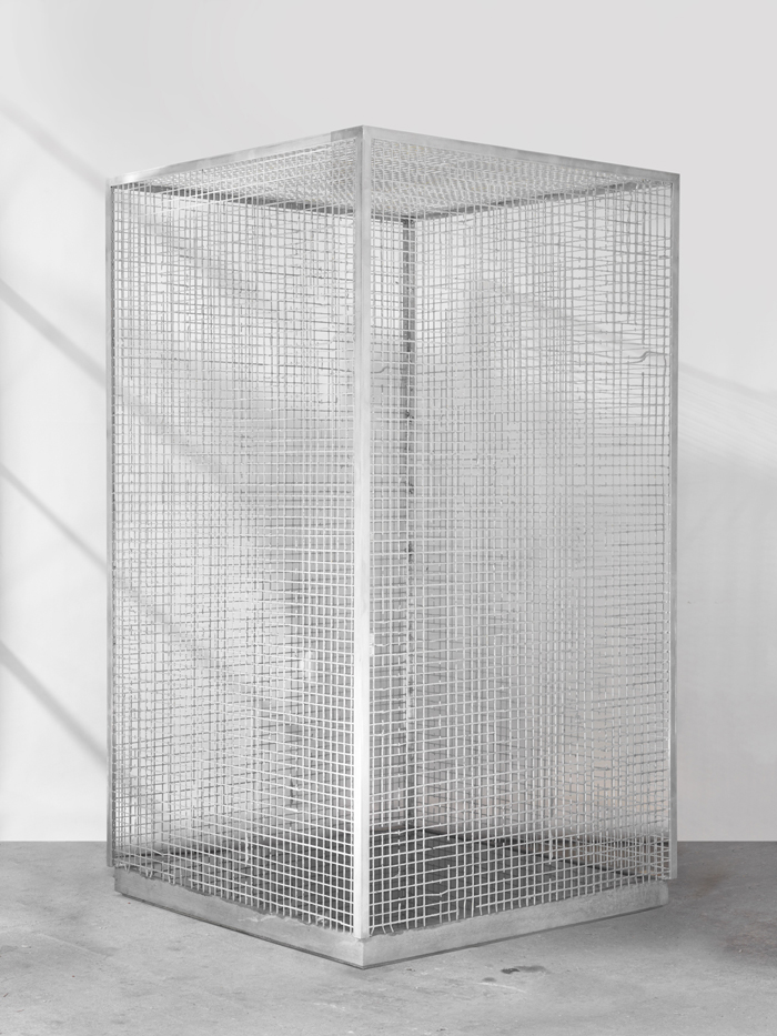 Dean Levin - Make Everything Fit In, 2015 - Aluminum, concrete, pigment, and water - 40 x 40 x 73 IN