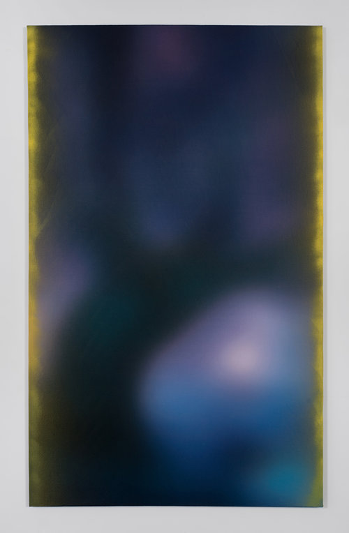 Ry David Bradley  AAA 10, 2015  Spray paint and dye transfer on synthetic suede  72h x 44w in  182.88h x 111.76w cm  RDB004