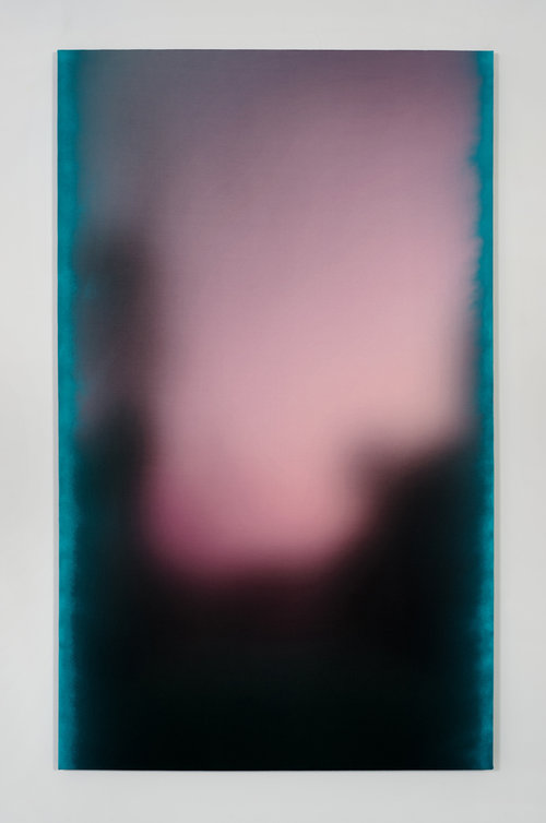 Ry David Bradley  AAA 14, 2015  Spray paint and dye transfer on synthetic suede  72h x 44w in  182.88h x 111.76w cm  RDB002